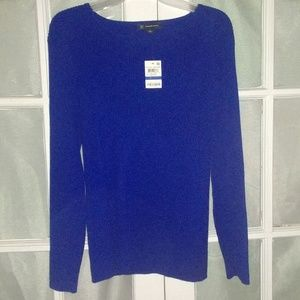 Stretch ribbed knit sweater